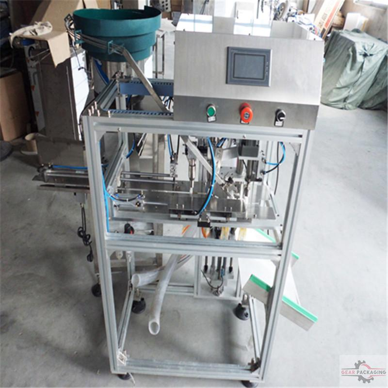 Stand up spout bags liquid juice drinking food filling sealing machine automatic mini doypack premade pouch filler screw capper equipment