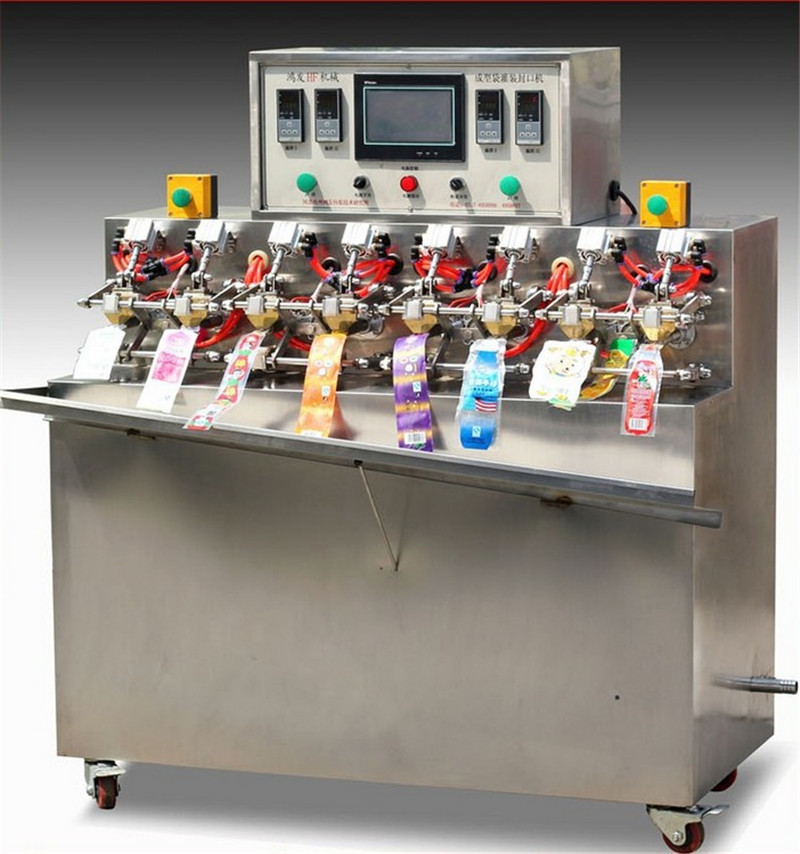 Ice-lolly stick shape juice spout bags filling sealing machine fully automatic stand up beverage bag filler sealer equipment food drinking packaging machinery
