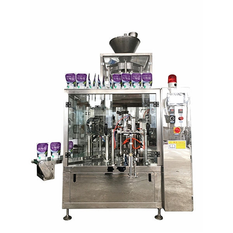 Sea salt rotary fill seal seal volumetric cup granules premade bag filling sealing machine fully automatic