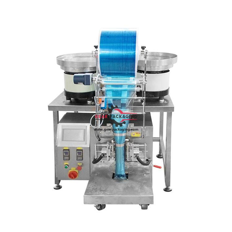 Automatic hardware bag filling sealing packing machine with two virbating bowls