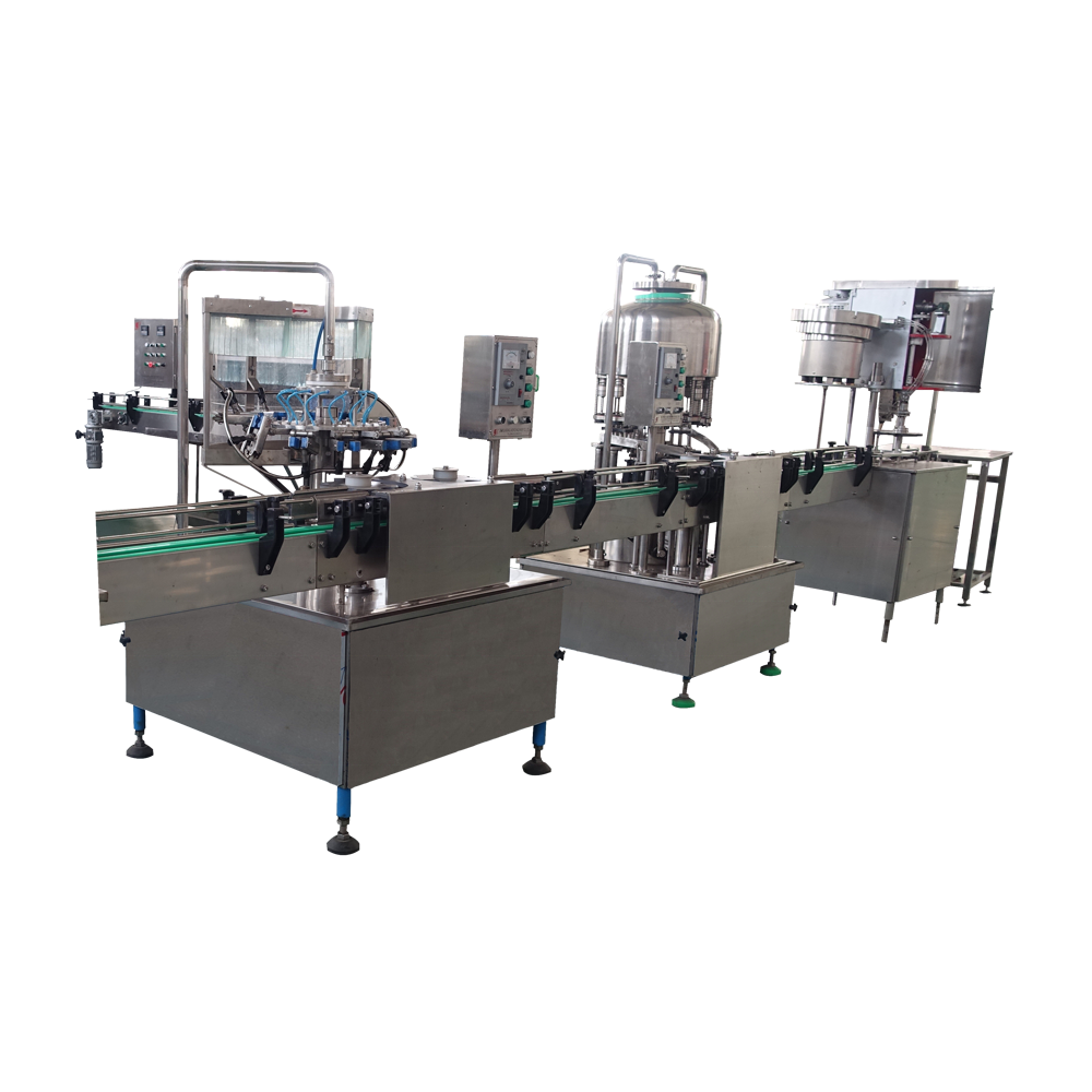 Automatic juice wine glass bottle rising washing filling capping machine