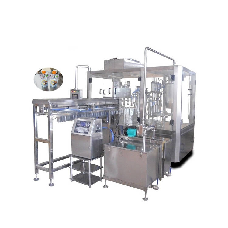 Automatic 4 station premade bag pouch jelly milk rotary filling capping machine